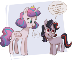 Size: 739x620 | Tagged: safe, artist:22dots22, princess flurry heart, oc, alicorn, pony, unicorn, abstract background, blank flank, duo, eyebrows visible through hair, female, filly, implied princess cadance, jewelry, no catchlights, offspring, older, older flurry heart, open mouth, parent:king sombra, parent:twilight sparkle, parents:twibra, sleepover, speech bubble, tiara