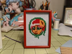 Size: 4032x3024 | Tagged: safe, artist:bitassembly, artist:tinyequine, kettle corn, cross stitch