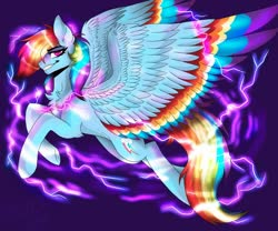 Size: 1250x1042 | Tagged: safe, artist:spiritwolfea, rainbow dash, pegasus, pony, colored wings, cutie mark, electricity, eyebrows visible through hair, flying, grin, hair over one eye, large wings, lidded eyes, looking at you, male, rainbow blitz, rule 63, smiling, solo, spread wings, stallion, wings