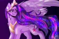 Size: 15000x10000   Tagged: safe, artist:spiritwolfea, twilight sparkle, alicorn, pony, the last problem, spoiler:s09e26, absurd resolution, chest fluff, cutie mark, ethereal mane, female, gradient background, jewelry, large wings, leg fluff, looking back, mare, princess twilight 2.0, regalia, smiling, solo, spread wings, starry mane, twilight sparkle (alicorn), wings