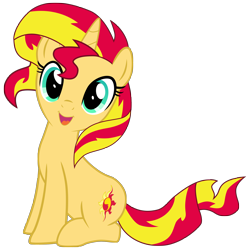 Size: 3500x3500 | Tagged: safe, artist:light262, sunset shimmer, pony, unicorn, cute, happy, high res, shimmerbetes, simple background, sitting, smiling, solo, transparent background, vector