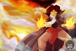 Size: 6000x4000 | Tagged: safe, artist:iideekayart, sunset shimmer, human, equestria girls, cloak, clothes, cloud, fairy tail, fairy tale, fanart, fire, lens flare, orange sky, red hair, ripped pants, scarf, smoke, solo, sunset