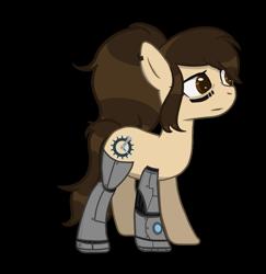 Size: 882x906 | Tagged: safe, artist:inkwelt, oc, oc only, oc:tinkora, cyborg, earth pony, pony, amputee, brown eyes, cutie mark, earth pony oc, female, mare, ponytail, prosthetic limb, prosthetics, simple background, solo, transparent background
