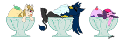 Size: 2702x893 | Tagged: safe, artist:ghouleh, oc, oc only, oc:eid, oc:lilac mist, oc:regal inkwell, bat pony, griffon, unicorn, cherry, cream, food, grumpy, ice cream, relaxing, simple background, sprinkles, transparent background