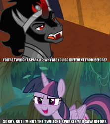 Size: 1280x1440 | Tagged: safe, edit, edited screencap, screencap, king sombra, mean twilight sparkle, alicorn, pony, the beginning of the end, the mean 6, spoiler:s09e01, spoiler:s09e02, caption, clone, female, image macro, male, meme, text