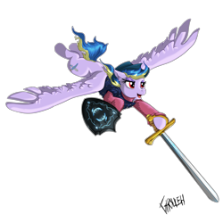 Size: 3543x3543 | Tagged: safe, artist:ghouleh, oc, oc only, oc:sky song, pegasus, dive, diving, flight, flying, hat, rapier, shield, simple background, solo, sword, transparent background, weapon