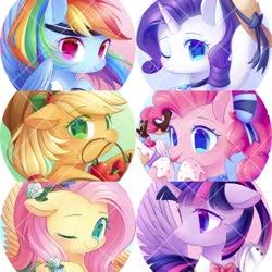 Size: 2048x2048 | Tagged: safe, artist:leafywind, applejack, fluttershy, pinkie pie, rainbow dash, rarity, twilight sparkle, alicorn, earth pony, pegasus, pony, unicorn, :p, apple, bow, bust, female, flower, food, hair bow, hat, high res, mane six, mare, one eye closed, portrait, smiling, starry eyes, tongue out, twilight sparkle (alicorn), wingding eyes, wink