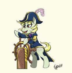 Size: 1842x1860 | Tagged: safe, artist:ghouleh, oc, oc only, oc:high tailwind, earth pony, admiral, blank flank, cap, captain, clothes, coat, hat, pirate, steering wheel