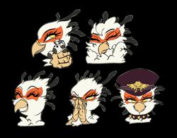 Size: 1579x1240 | Tagged: safe, artist:ghouleh, oc, oc only, oc:gagami, bird, griffon, original species, secretary bird, zebra, zebragriff, collar, doll, female, fluffy, gag, hat, secretary, simple background, smiling, spiked collar, sticker, telegram sticker, toy, transparent background