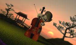 Size: 1610x950 | Tagged: safe, artist:kiodima, octavia melody, earth pony, pony, 3d, cinema 4d, realistic, solo, sunset