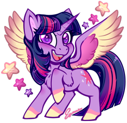 Size: 564x547 | Tagged: safe, artist:esmeia, twilight sparkle, alicorn, pony, cheek fluff, chest fluff, colored hooves, colored wings, cute, ear fluff, eye clipping through hair, eyebrows visible through hair, female, leg fluff, looking at you, mare, multicolored wings, simple background, solo, spread wings, stars, transparent background, twiabetes, twilight sparkle (alicorn), wings