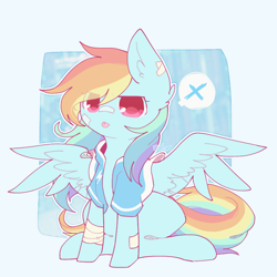 Size: 800x800 | Tagged: safe, artist:jisuppe, rainbow dash, pony, clothes, jacket, solo, tongue out