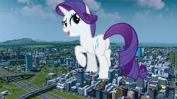 Size: 1920x1080   Tagged: safe, artist:andoanimalia, rarity, pony, unicorn, butt, city, female, giant pony, giantess, macro, plot