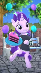 Size: 1080x1920 | Tagged: safe, artist:owlpirate, starlight glimmer, pony, unicorn, 3d, balloon, bipedal, cake, clothes, ear piercing, earring, food, jewelry, piercing, shirt, solo, striped shirt, tattoo