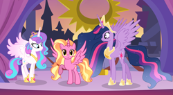 Size: 5775x3161 | Tagged: safe, artist:velveagicsentryyt, luster dawn, princess flurry heart, twilight sparkle, alicorn, pony, spoiler:s09e26, absurd resolution, alicornified, base used, lustercorn, older, older flurry heart, princess twilight 2.0, race swap, twilight sparkle (alicorn)