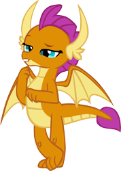 Size: 4087x5731 | Tagged: safe, artist:memnoch, smolder, dragon, blinking, claws, crossed legs, dragoness, fangs, female, horns, raised arm, raised eyebrow, simple background, smugder, solo, spread wings, talking, teenaged dragon, teenager, toes, transparent background, vector