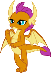 Size: 4044x5740 | Tagged: safe, artist:memnoch, smolder, dragon, claws, crossed legs, fangs, female, horns, kid, lidded eyes, raised arm, raised eyebrow, simple background, smiling, smugder, solo, spread wings, talking, teenaged dragon, teenager, toes, transparent background, vector