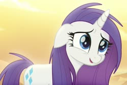 Size: 1207x804 | Tagged: safe, screencap, rarity, pony, unicorn, my little pony: the movie, alternate hairstyle, desert, eyeshadow, floppy ears, hasbro, long hair, loose hair, makeup, solo
