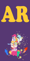 Size: 2000x4000 | Tagged: safe, anonymous artist, pinkie pie, pound cake, pumpkin cake, pony, series:fm holidays, baby, baby pony, cake twins, clothes, drool, fireworks, fuse, glasses, happy new year, hat, holding a pony, holiday, hood, lineless, looking at something, looking up, mouth hold, new year, no pupils, novelty glasses, part of a series, part of a set, party horn, purple background, rocket, siblings, simple background, smiling, sparkler (firework), sweater, top hat, twins