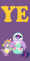 Size: 2000x4000   Tagged: safe, anonymous artist, spike, twilight sparkle, alicorn, pony, series:fm holidays, boots, clothes, cold, crossed legs, duo, fire, fire breath, freezing, happy new year, hat, holiday, hood, lineless, looking at something, looking up, new year, no pupils, part of a series, part of a set, purple background, scarf, shoes, simple background, sweater, twilight sparkle (alicorn)