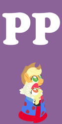 Size: 2000x4000   Tagged: safe, anonymous artist, apple bloom, applejack, pony, series:fm holidays, blanket, boots, clothes, cowboy hat, duo, female, happy new year, hat, holiday, jacket, lineless, looking at something, looking up, new year, no pupils, part of a series, part of a set, purple background, shoes, siblings, simple background, sisters