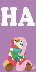Size: 2000x4000 | Tagged: safe, anonymous artist, big macintosh, fluttershy, pony, series:fm holidays, boots, clothes, earmuffs, female, fluttermac, gloves, happy new year, holding a pony, holiday, hoof gloves, lineless, looking at something, looking up, male, new year, no pupils, part of a series, part of a set, purple background, shared clothing, shared sweater, shipping, shoes, simple background, straight, sweater