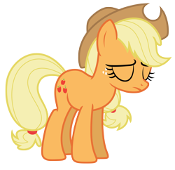 Size: 6250x6056 | Tagged: safe, artist:estories, applejack, earth pony, pony, absurd resolution, eyes closed, frown, hat, simple background, solo, transparent background, vector