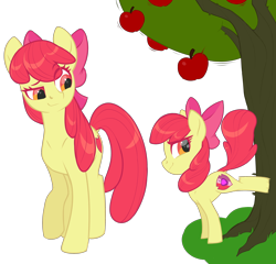 Size: 2868x2748 | Tagged: safe, artist:moonseeker, apple bloom, pony, apple, apple tree, duality, older, older apple bloom, self ponidox, simple background, solo, time paradox, transparent background, tree