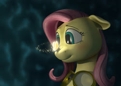 Size: 2364x1678 | Tagged: safe, artist:anadukune, fluttershy, firefly (insect), insect, pegasus, pony, 3d, bust, eye reflection, female, floppy ears, goggles, insect on nose, looking at something, mare, reflection, remake, smiling, solo, teary eyes