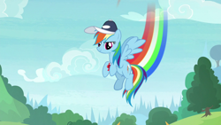 Size: 1920x1080 | Tagged: safe, screencap, rainbow dash, pegasus, pony, 2 4 6 greaaat, spoiler:s09e15, coach rainbow dash, coaching cap, flying, rainbow dashs coaching whistle, rainbow trail, solo, whistle, whistle necklace, wings