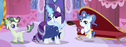 Size: 3637x1353 | Tagged: safe, artist:galaxyswirlsyt, rarity, oc, oc:burnity, oc:sky city, dracony, hybrid, pony, unicorn, base used, carousel boutique, female, filly, half-siblings, interspecies offspring, magic, male, offspring, older, older rarity, parent:fancypants, parent:rarity, parent:spike, parents:raripants, parents:sparity