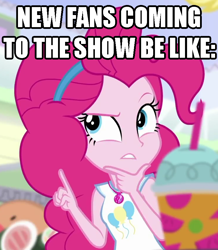 Size: 740x848 | Tagged: safe, derpibooru exclusive, edit, edited screencap, screencap, pinkie pie, earth pony, human, equestria girls, cropped, humanized, impact font, meme, solo, text