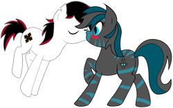 Size: 1994x1252   Tagged: safe, artist:theironheart, oc, oc only, oc:crooked cross, oc:zh3sh1re, earth pony, pony, base used, blush sticker, blushing, earth pony oc, eyes closed, kissing, raised hoof, simple background, transparent background