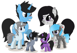Size: 2678x1859   Tagged: safe, artist:dyonys, oc, oc only, oc:dusk shine, oc:glory shine, oc:icy shine, oc:rosaline mollycoddle, oc:silver shine, oc:velvet shine, earth pony, pony, unicorn, bracelet, choker, colt, family, female, foal, jewelry, looking at each other, looking at you, male, mare, raised hoof, scar, show accurate, simple background, smiling, spots, stallion, transparent background