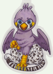 Size: 1549x2157 | Tagged: safe, artist:starsheepsweaters, oc, oc only, oc:ruzeth, griffon, badge, finch, griffonized, male, species swap