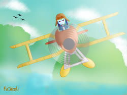 Size: 4560x3420 | Tagged: safe, rainbow dash, bird, equestria girls, absurd resolution, biplane, cloud, digital art, flying, fog, front view, island, looking at you, paint tool sai, plane, rotor, seaplane, sky, solo