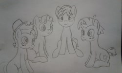 Size: 2560x1536 | Tagged: safe, artist:peternators, biscuit, pistachio, sandbar, star tracker, earth pony, pony, male, me and the boys, monochrome, sitting, sketch, smiling, teenager, traditional art