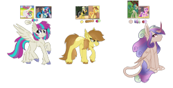 Size: 2384x1208 | Tagged: safe, artist:koloredkat, edit, edited screencap, screencap, blossomforth, braeburn, daring do, dj pon-3, rain shine, vinyl scratch, oc, alicorn, earth pony, hybrid, kirin, pegasus, pony, alicorn oc, clothes, contortionist, crack shipping, female, flexible, grin, hat, interspecies, kirin oc, leonine tail, magical lesbian spawn, male, mare, offspring, parent:blossomforth, parent:braeburn, parent:daring do, parent:princess cadance, parent:rain shine, parent:vinyl scratch, pith helmet, raised hoof, screencap reference, shipping, smiling, stallion, sunglasses, unshorn fetlocks