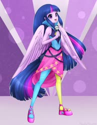 Size: 1024x1326 | Tagged: safe, artist:noodlefreak88, twilight sparkle, alicorn, equestria girls, rainbow rocks, clothes, cute, deviantart watermark, dress, female, leggings, looking at you, microphone, obtrusive watermark, open mouth, ponied up, rainbow rocks outfit, solo, starry eyes, twiabetes, twilight sparkle (alicorn), watermark, wingding eyes