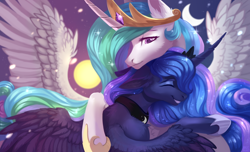 Size: 3300x2000 | Tagged: safe, artist:magicbalance, princess celestia, princess luna, alicorn, pony, chest fluff, crescent moon, cute, day and night, duo, ear fluff, eyes closed, female, high res, hug, leg fluff, mare, moon, royal sisters, siblings, sisterly love, sisters, smiling, spread wings, sun, wings