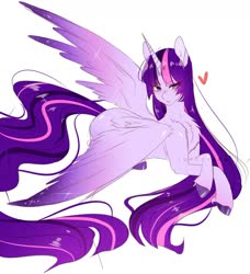 Size: 1280x1403 | Tagged: safe, artist:tohkatana, twilight sparkle, alicorn, pony, blushing, chest fluff, colored hooves, colored wings, cute, ear fluff, female, gradient wings, heart, leg fluff, mare, prone, simple background, solo, twiabetes, twilight sparkle (alicorn), white background, wings