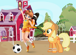 Size: 2508x1829 | Tagged: safe, artist:estories, artist:user15432, applejack, butterfly, earth pony, human, pony, ball, barely pony related, butterfly wings, clothes, crossover, crown, ear piercing, earring, football, jewelry, mario sports superstars, net, nintendo, piercing, ponyville, princess daisy, regalia, shoes, soccer field, sports, sports outfit, sports shorts, sporty style, super mario bros., sweatband, sweet apple acres, training, wings