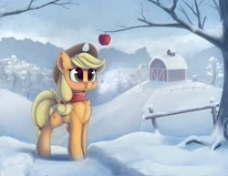 Size: 3000x2310 | Tagged: safe, artist:anti1mozg, applejack, earth pony, pony, apple, blushing, chest fluff, clothes, cute, ear fluff, female, food, high res, jackabetes, leg fluff, mare, scarf, snow, solo, sweet apple acres, winter