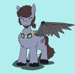 Size: 2048x2022 | Tagged: safe, artist:omegapony16, oc, oc only, oc:oriponi, pegasus, pony, amputee, artificial wings, augmented, chest fluff, frown, goggles, male, one wing out, prosthetic limb, prosthetic wing, prosthetics, simple background, solo, stallion, unshorn fetlocks, wings