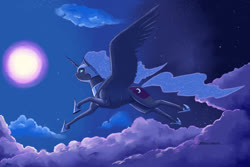 Size: 1400x933   Tagged: safe, artist:baron engel, nightmare moon, alicorn, pony, cloud, colored, female, flying, full moon, hoof shoes, mare, moon, night, profile, sky, solo, spread wings, wings