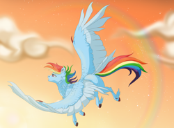 Size: 2300x1700 | Tagged: safe, artist:huimang-art, rainbow dash, pegasus, pony, cloud, female, fluffy, flying, hooves, large wings, mare, rainbow, sky, wings