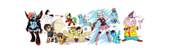 Size: 8672x2672 | Tagged: safe, artist:ktheman1911, applejack, mistress marevelous, rainbow dash, oc, oc:charmed clover, anthro, earth pony, human, pegasus, pony, unguligrade anthro, anthro with ponies, armor, artificial wings, augmented, bust, chest fluff, clothes, crossover, dawn (pokémon), ed edd n eddy, fake moustache, female, goggles, male, mare, mechanical wing, power ponies, present, rainbow blitz, raised hoof, rule 63, sibsy, signature, simple background, stallion, unamused, watch, white background, wings