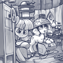 Size: 4000x4000 | Tagged: safe, artist:dimfann, pinkie pie, twilight sparkle, earth pony, pony, unicorn, series:pony re-watch, feeling pinkie keen, absurd resolution, duo, erlenmeyer flask, female, machinery, mare, monochrome, open mouth, paper, research, scene interpretation, twilight's lab, underground, unicorn twilight