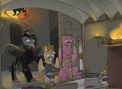 Size: 1500x1100 | Tagged: safe, artist:sinrar, oc, oc only, oc:grover vi, griffon, equestria at war mod, armor, clothes, crown, crypt, fire, flag, flower, grave, group, jewelry, pickelhaube, regalia, sad, stained glass, sword, weapon