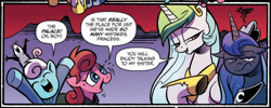 Size: 2440x973 | Tagged: safe, artist:andypriceart, idw, princess celestia, princess luna, scarlet petal, tiberius, winter comet, opossum, pony, spoiler:comic, spoiler:comic65, brother and sister, clothes, colt, cropped, female, filly, foal, hoof shoes, irritated, looking at you, luna is not amused, male, mare, royal sisters, siblings, speech bubble, unamused